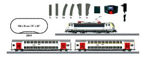 Märklin Scala H0 Start Set - Locomotiva elettrica Siemens Vectron come EuroSprinter ES 2007 Serie HLE 18 e due carrozze a due piani della NMBS/SNCB.