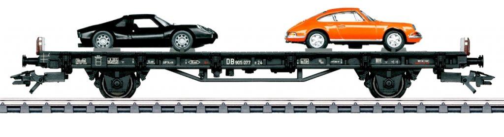 """Märklin 45053 - """"70 anni di auto sportive Porsche"""" - Vagoni dedicato agli anni '60 con la prima Porsche 911 e la Porsche 904 GTS."""