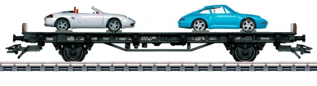 """Märklin 45056 - """"70 anni di auto sportive Porsche"""" - Il vagone anni '90 carica la Porsche 911/993 e la Porsche Boxter in Scala H0."""